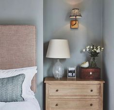 Bedroom Colors, Bedroom Ideas, Bedroom Inspiration, Dresser As Nightstand, Grey Walls, Light Blue, Table, Projects, Furniture