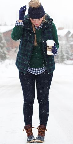 Plaid Puffer Vest – Living In Color Print