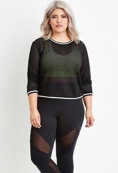 Plus Size Varsity-Striped Open-Mesh Top | Forever 21 PLUS - 2000154136