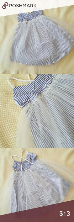 Tulle striped girls dress Beautiful blue tulle striped dress||Sizes 2/3 & 3/4||NEW with tags|| No Brand  Dresses Casual