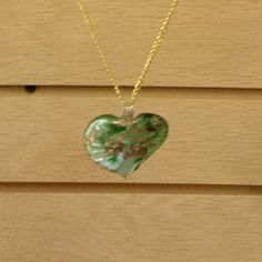 Murano Glass Pendant - Lampwork Glass - Green and Gold Heart Shape - 48x50mm - Free Chain by GailsGiftHut on Etsy