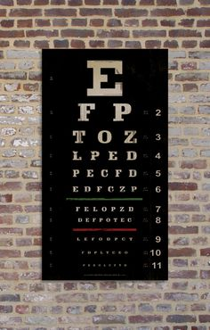 VINTAGE STYLE REPLICA Eye Chart 12 x 22 Giclee by AlpineGraphics, $40.00