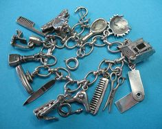 "Vintage Sterling Beauty Salon Theme Charm Bracelet ""Having A Bad Hair Day! by Just4Girls on Ruby Lane."