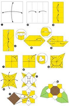 Diagram of sunflower origami, step 1