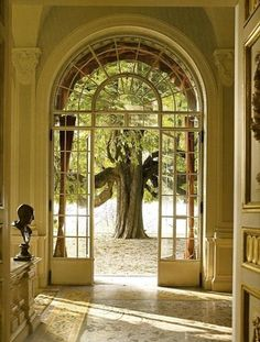I want arched windows and doors in my house! Beautiful Space, Beautiful Homes, Beautiful Castles, Gates, Grand Entrance, Architectural Elements, Architectural Salvage, Windows And Doors, Arched Doors