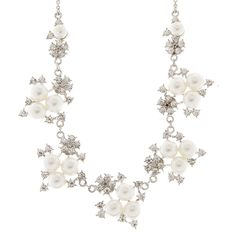 Elizabeth Crystal Flower and Pearl Clusters Statement Necklace