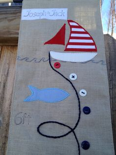 Childs fabric growth chart nautical with sailboat by NaturesNeedle