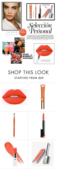 """Spring lip color:orange-red"" by zarnati ❤ liked on Polyvore featuring beauty, Lime Crime, Clarins, Sisley, Burberry, Kerr®, Paul Frank and WALL"