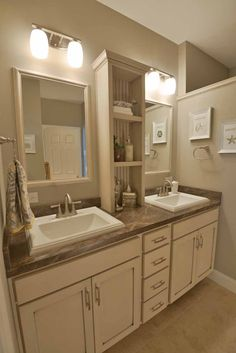 His-and-her vanity bathroom sinks are a & have.& Center shelf storage is super convenient. Bathroom Cabinetry, Bathroom Renos, Upstairs Bathrooms, Master Bathroom, Vanity Bathroom, Prefab Homes, Modular Homes, Bathroom Photos, Bathroom Ideas