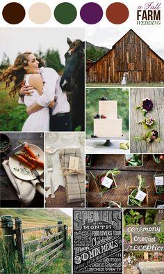 wedding color combination: green, purple, brown: fall farm wedding inspiration