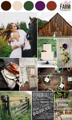 wedding color combination: green, purple, brown: fall farm wedding inspiration