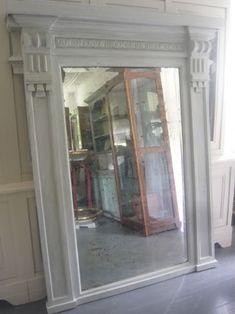 Unusual large 18th Century architectural painted overmantel/floorstanding oak mirror.