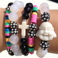 Arm Candy. Arm Candy. Arm Candy.  Sparkling Faith Stack-EM available on BeadingwithaMeaning.com. Come create your Arm Party with us!!!