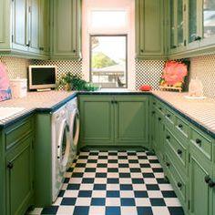 Love the floor, cute laundry room