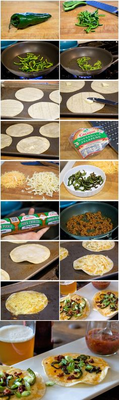 Cheese Crisps  1 whole Poblano Pepper  1 teaspoon Olive Oil  ½ cups Pork Chorizo  4 whole Small Flour Tortillas  4 teaspoons Butter  1 cup Mexican Cheeses (I Used Cheddar, Queso Quesadilla And Oaxaca)  2 whole Scallions, Thinly Sliced