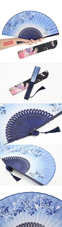 LeeHomeR Chinese Japanese Style Female Hand Folding Fan Flax Leaf Butterfly Pattern Blue 004