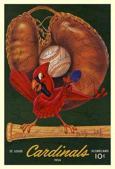 Cardinals 1954 Scorecard. St Louis Baseball, St Louis Cardinals Baseball, Baseball Art, Stl Cardinals, Dodgers Baseball, Buster Posey, Sports Art, Chicago White Sox, Atlanta Braves
