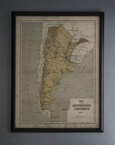 Argentina Map: Vintage map of Argentina - Argentine Republic - Circa 19th C.
