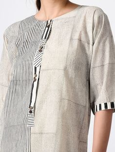 Ivory-Black Hand Block-printed Cotton Kurta Kurta Designs Women, Kurti Neck Designs, Salwar Designs, Blouse Designs, Indian Attire, Indian Wear, Indian Outfits, Printed Kurti Designs, Khadi Kurta