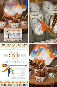 Tribal Aztec Kilim Geometric bow and arrow feathers invitations printables diy party