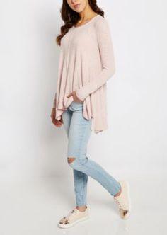 Pink Marled Sharkbite Sweater $22.99