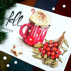 #coffee #cacao #newyear #merrychristmas #art #illustration #artist #sketchbook #drawing #winter #winterfall