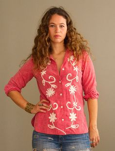 1970s Embroidered Western Shirt by NeonMamacitaVintage on Etsy, $68.00
