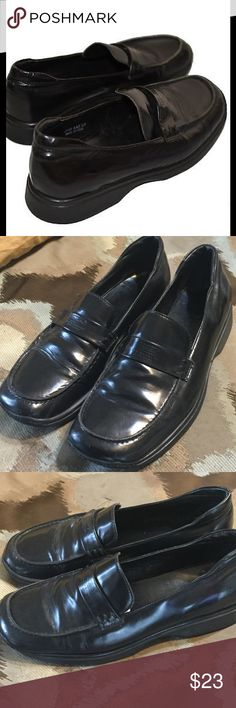 COACH BLACK LEATHER LOAFERS! Coach shoes in size 8B.  Made in Italy.  Has a scuff on the back left heel (see pic 4).  Otherwise good condition.  Great for everyday wear.  NA Coach Shoes