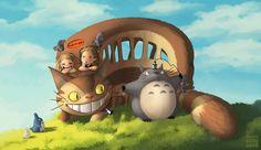 My Neighbor Totoro (Miyazaki), adorable art piece of Totoro, the girls and the cat bus!