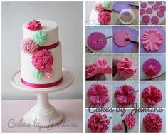 Ruffle pompom flowers - CakesDecor