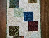 Mountain Tumbling Batik  Patchwork Quilted Table Runner by CreationsbyWeezie on Etsy, $35.00 USD