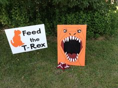 "Dinosaur party game - ""Feed the T Rex"""