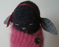 RESERVED A Charcoal Black Bunny with Maroon Cape And Filled with Lavender