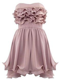Ruffled Waterfall Dress: Features a chic strapless design with charming sweetheart bustline, five layers of frothy frills lending beautiful texture to the bodice, nipped and neat pintuck-pleated waist, and a beautifully fluted A-line skirt to finish.