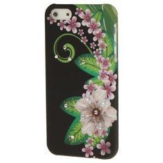 Iphone 5 Cover Schwarz mit Blume und Strassteinen (harte Rückseite) von CNP