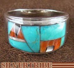 Genuine Sterling Silver Turquoise And Multicolor Inlay Ring Size 11-1/2 DS42469