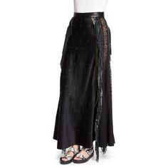 Alexander Wang High-Waist Embellished Maxi Skirt (1.930 BRL) ❤ liked on Polyvore featuring skirts, pitch, fringe skirts, eyelet skirt, long skirts, floor length skirts and high waisted a line skirt