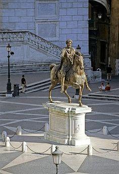 Estatua ecuestre, Marco Aurelio, Colina del Capitolio, Plaza del Campidoglio, Roma, Lazio, Italia, Europa