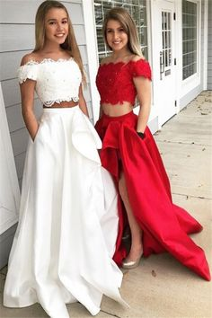 Chic Off-the-shoulder Two Piece Ruffles Prom Dresses Beads Lace Side Slit Sexy Evening Dresses with Pocket_2 #promdress #babyonlinedressuk #promdressuk Wite Prom Dresses, Red Lace Prom Dress, Prom Dresses Two Piece, Prom Dresses With Pockets, High Low Prom Dresses, Cheap Prom Dresses, Homecoming Dresses, Dress Prom, Long Dresses