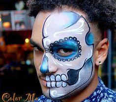 Men's Sugar Skull Makeup - Color Me Face Painting - Vanessa Mendoza Skeleton Face Paint, Sugar Skull Face Paint, Sugar Skulls, Face Painting Designs, Paint Designs, Halloween Makeup Looks, Halloween Face, Halloween Costumes, Deco Haloween