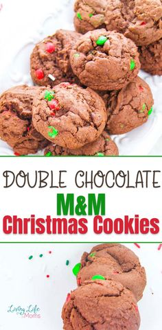 These Double Chocolate M&M Christmas Cookies are so delicious and simple to make! Perfect for Christmas cookies or a great gift idea to share with family and friends! The perfect holiday treat to share with guests. Easy Holiday Cookies, Cookies For Kids, Fun Cookies, Holiday Treats, Christmas Treats, Christmas Cookies, Easy Cookie Recipes, Easy Recipes, Perfect Cookie