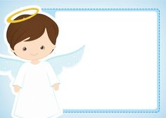Cute Angel Boy: Free Printable Invitations, Labels or Cards. Baptism Invitation For Boys, Christening Invitations, Free Printable Invitations, Free Printables, Christening Party Decorations, Baptism Greetings, Cupcakes For Boys, Personalized Picture Frames, Baby Clip Art