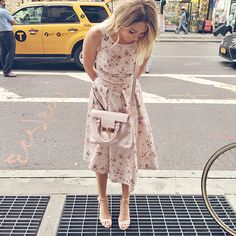 A close-up of Lauren Conrad in head-to-toe LC Runway Collection.