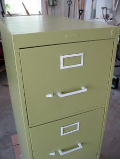 Painting metal filing cabinet