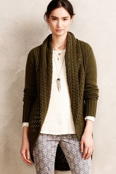 Anthropologie Angel of the North hand-knit green open-front cardigan, Size XS