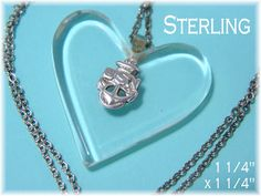 """USN Navy WWII Lucite Heart - Sterling Silver Anchor Emblem 1 1/4"""" Pendant & Sweetheart Chain Necklace - Military Navy Naval - FREE Shipping by FindMeTreasures on Etsy"""