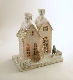 Mica Putz House Pink Vintage Style Christmas Village