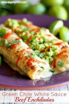 Eat Cake For Dinner: Green Chile White Sauce Beef Enchiladas