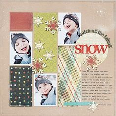 Mimic Snow  Spritz white mist lightly on the background of kraft paper for the look of falling snow. Punched snowflakes add to the wintry theme and echo the white color.