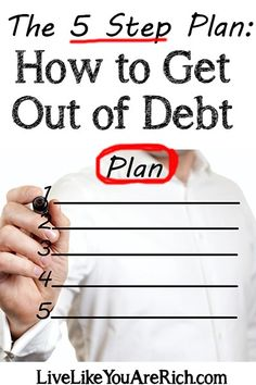 Living a rich life (materially and non-materially) requires that you have financial peace of mind. This is an excellent and simple 5 step plan to help you get out of debt. Budget Budgeting Tips Financial Peace, Financial Tips, Financial Planning, Budgeting Finances, Budgeting Tips, Dave Ramsey, Ways To Save Money, Money Saving Tips, Money Tips